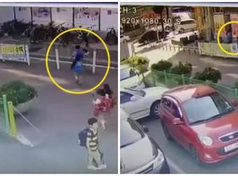 """""""내 아이를 괴롭혀?"""" 학교 앞에서 아이 폭행한 학부모(동영상)"""