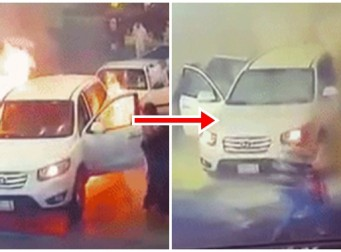주유소에 차량 화재 발생, 대폭발 위기(동영상)