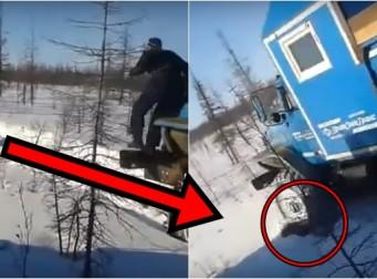 잠에서 깨어난 곰을 차 바퀴로 깔아뭉개버린 남성(동영상)