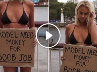 강변에서 검은색 비키니를 입고 '가슴 수술 비용' 모금하는 여성의 숨겨진 이유 (동영상)