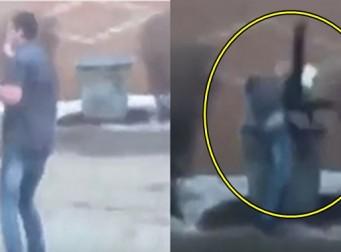 거짓말한 여자친구를 쓰레기통에 집어 던진 남성 (사진, 동영상)