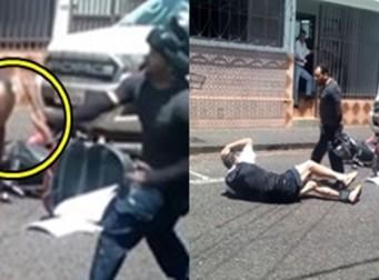 길거리에서 싸우다가 망치로 머리 터진 남성 (사진,동영상)