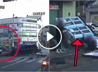 1초 먼저 가려던 욕심에 결국 대형 교통사고에 아무 죄 없이 당한 학생 (동영상)