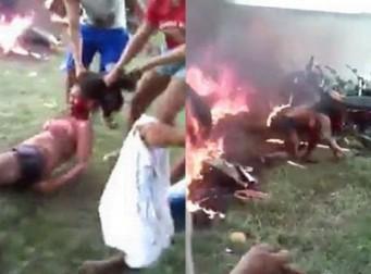 경찰서에 있는 방화범 끌어내 화염 속으로 던져버린 주민들 (사진 4장)