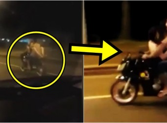 달리는 오토바이에서 반나체로 성관계하는 커플 (동영상)