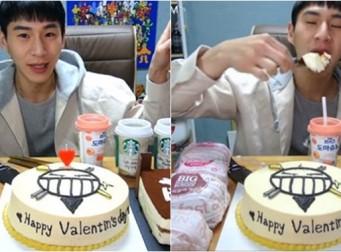 500일 된 여자친구가 선물한 케이크로 먹방하는 밴쯔 (동영상)