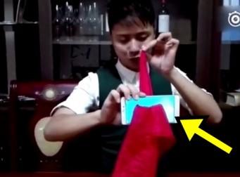 손수건으로 스마트폰 뚫어내는 마술의 비밀 (동영상)