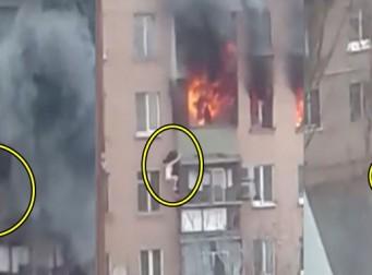 화재 피해 빌딩 8층에서 떨어지고도 살아남은 여성 (동영상)