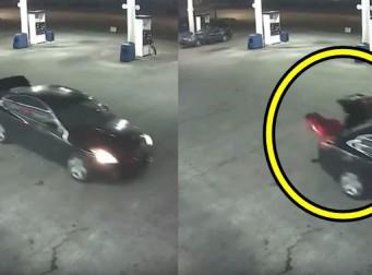 자동차 트렁크를 열고 납치범으로부터 탈출에 성공하는 여성(동영상)