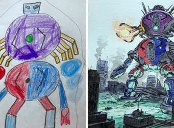 아이의 그림을 엄청난 일러스트로 바꿔주는 남성 (사진12장)