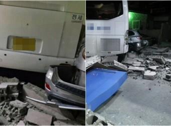 운전 중 혼절한 버스 운전 기사, 관광버스 30m 내리막 돌진