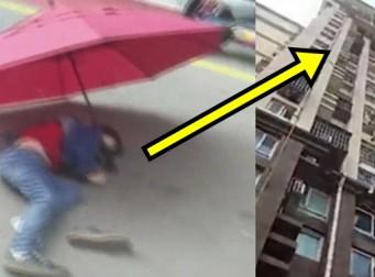 우산 편 채로 '10층'에서 뛰어내린 아이 (사진4장)