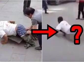 길거리서 구걸하는 장애인 남성의 '진짜 정체' (동영상)