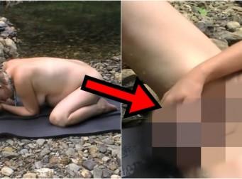 강가에서 혼자 자연분만 촬영한 산모…그 이유는? (동영상)