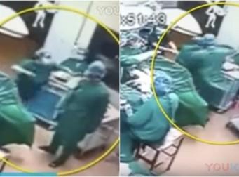 환자 수술 도중 '주먹쥐고' 싸우는 의사들 (동영상)