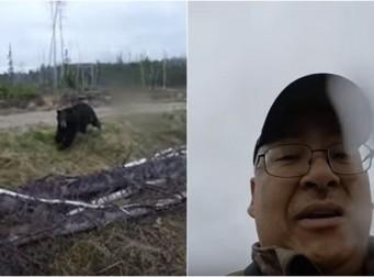 활로 곰 잡으려던 사냥꾼에게 '순식간에' 달려드는 흑곰 (동영상)