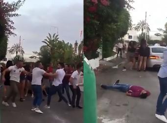 아침 길거리에서 벌어진 집단 난투극 (동영상)