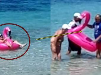 '플라밍고' 튜브에 몸이 낀 여성 (동영상)