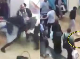 쇼핑센터에서 벌어진 소동 속 히잡을 뜯긴 여성 (동영상)